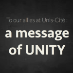 «To our allies at Unis-Cite: a message of unity»