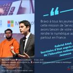 226 volontaires de la France entière réunis sur le Campus de Microsoft France à Paris pour le lancement du programme Jeunes citoyens du Numérique en présence de Gabriel Attal, Secrétaire d'Etat à la jeunesse