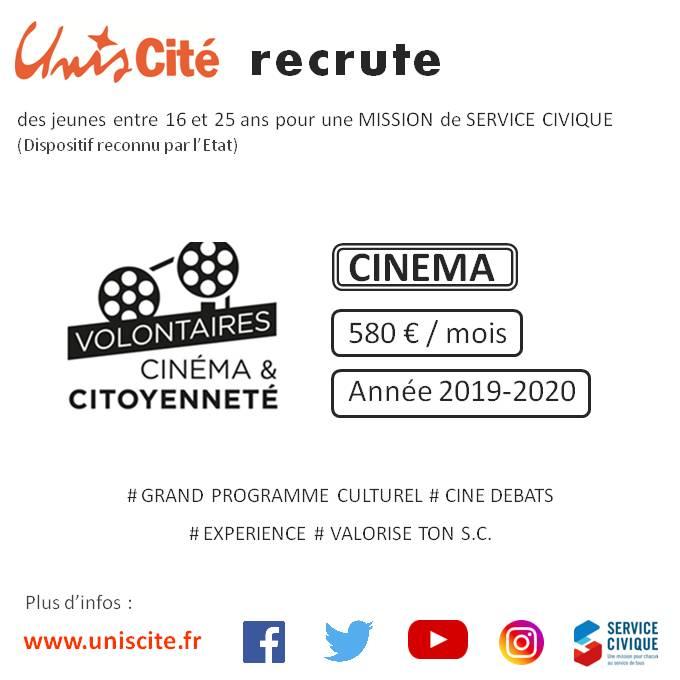Unis Cité Lille RECRUTE 16 postes dans le CINEMA !