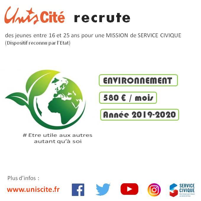 Unis Cité Lille RECRUTE 56 postes dans l' ENVIRONNEMENT !