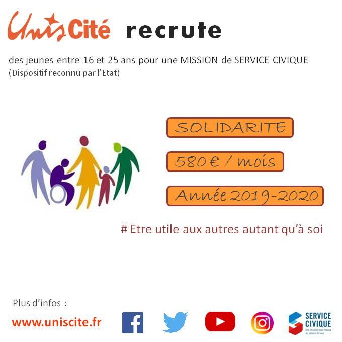 Unis Cité Lille RECRUTE 44 postes dans la SOLIDARITE  !