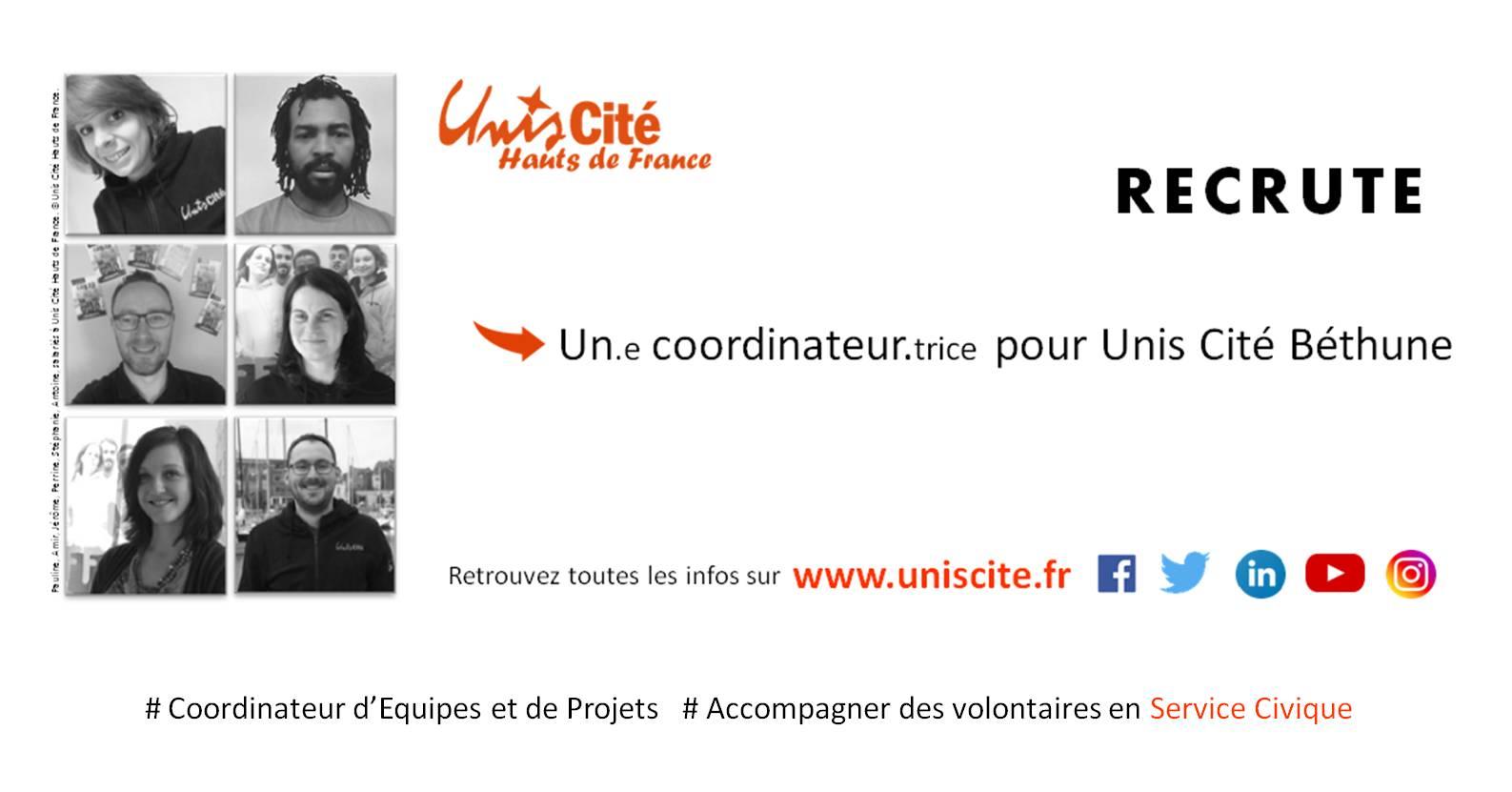 UNIS CITE Recrute 1 coordinateur.trice pour Unis Cité Béthune
