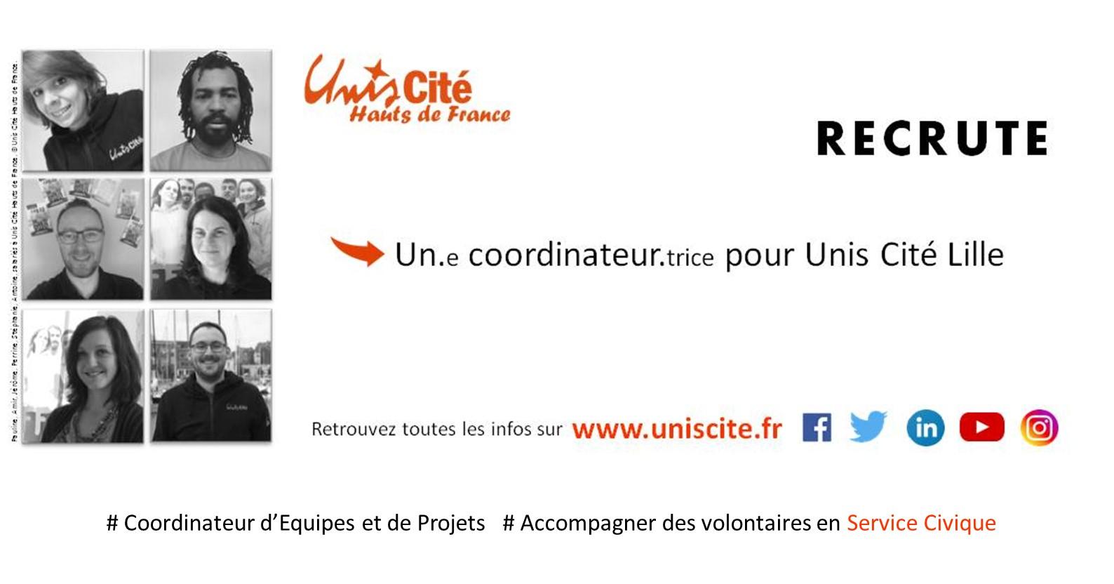 Unis-Cité Lille recherche Un/Une COORDINATEUR/TRICE d'équipes et de projets